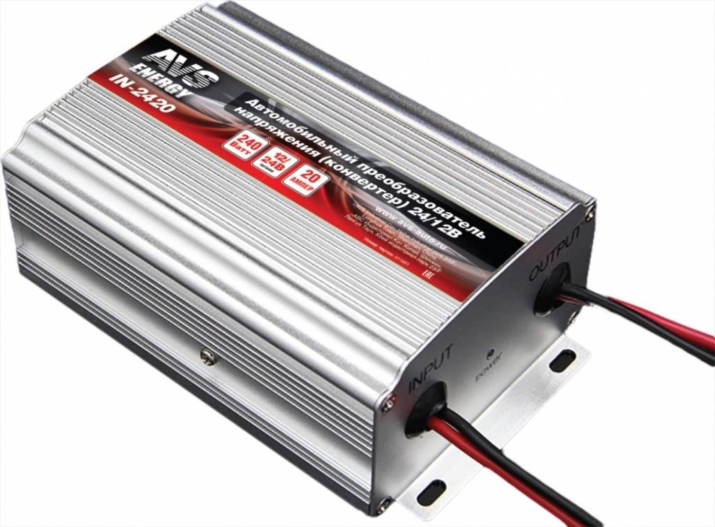 Автозапчасть/Преобразователь напряжения (инвертор) 24-12V 20А AVS