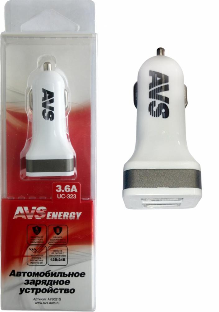 Разветвитель прикуривателя USB AVS 2 порта UC-323 (3/6А)