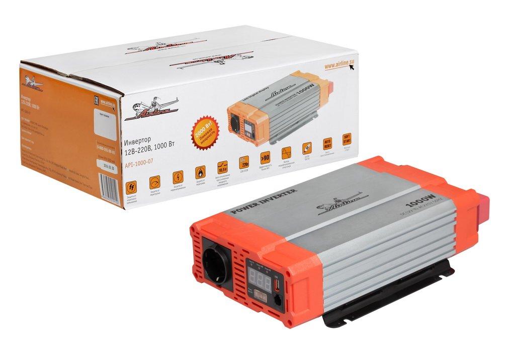 Инвертор 12В-220В. 1000 Вт (API-1000-07)