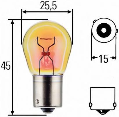 Лампа накаливания 12V 21W PY21W BAU15s Iveco. MB. RVI