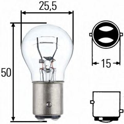 Лампа (P21/5W) 12V BAY15d стоп/габарит двухнитевая
