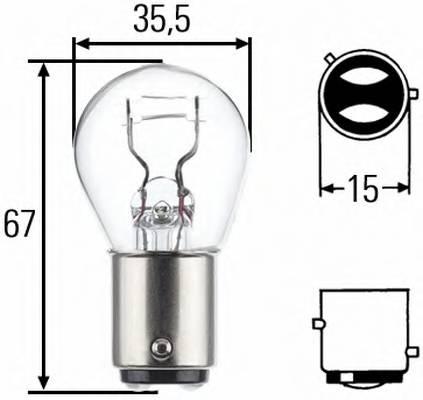 Лампа (21/4W) 12V BAZ15d габарит/стоп сигнал