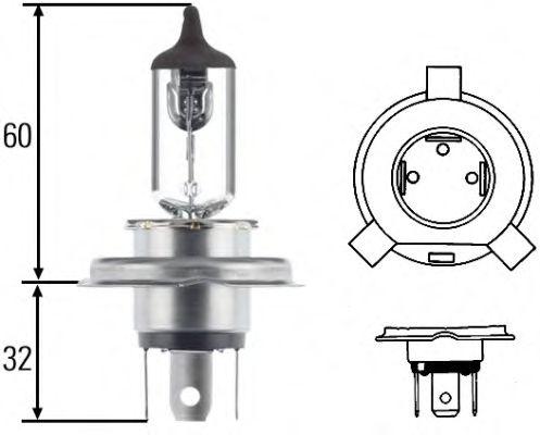 Лампа (H4) 12V 60/55W P43t-38 галогенная
