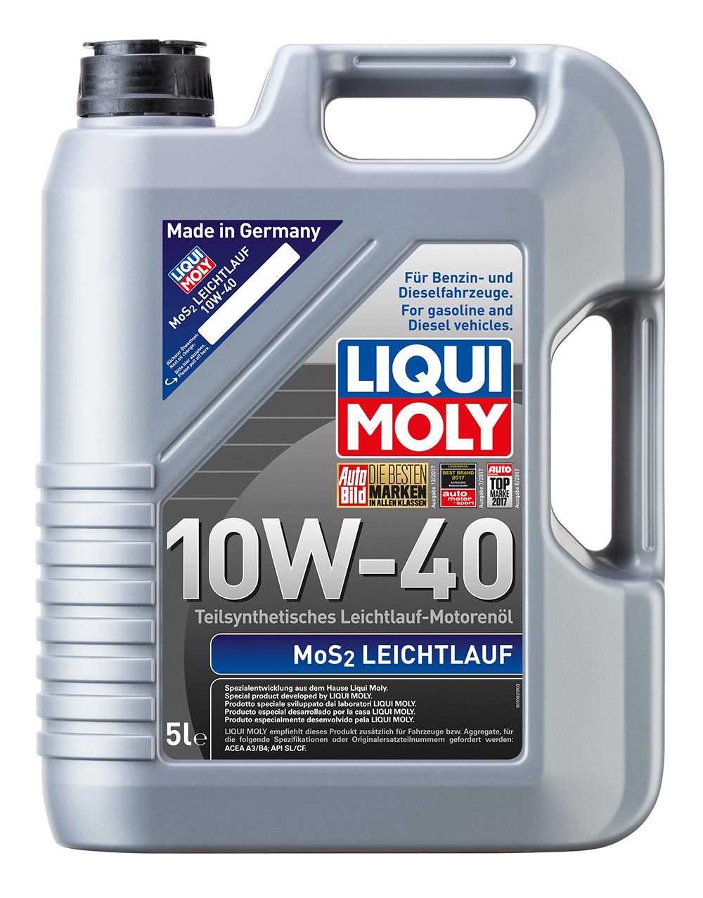 Масло моторное синт.10W-40 MoS2 Leichtlauf 5л ACEA A3 ACEA B4 API SL