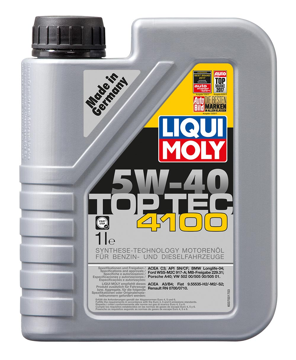 Масло моторное синт. 5W40 Top Tec 4100 1л API SM/CF.ACEA A3-04/B4-04/C3-04:VW.MB