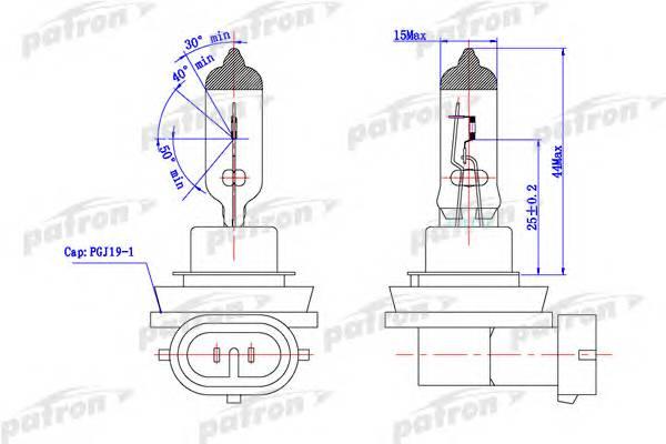 Лампа галогенная H8 12V 35W PGJ19-1