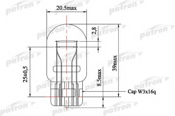 Лампа накаливания (10шт в упаковке) W21 5W 12V NVA CP W3x16q