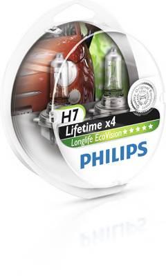 Лампа Philips LongLife EcoVision H7 12V-55W увелич. срок службы 2шт