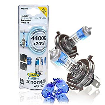Лампы галогеновые XENON4400K +30% H4 + SIDE LIGHTS - INT к-т 2шт